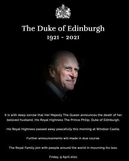 morto il principe filippo a 99 anni