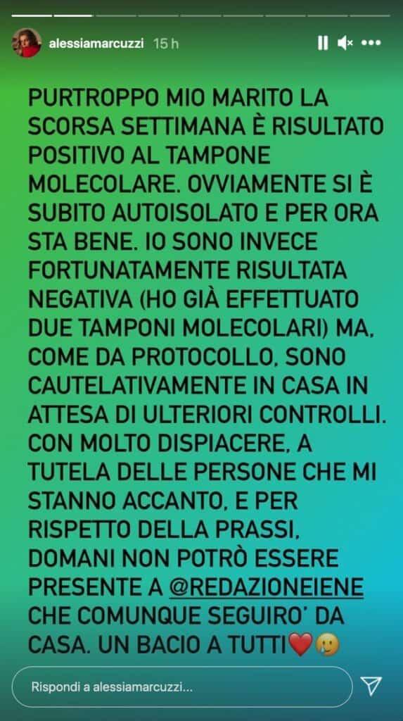 Alessia Marcuzzi, storia Instagram