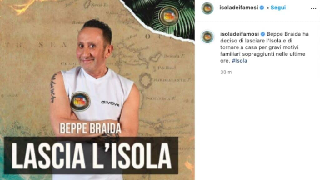 Beppe Braida lascia l'Isola dei Famosi: