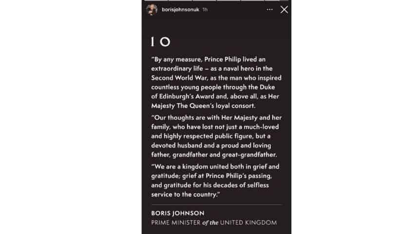 Il messaggio di cordoglio di Boris Johnson
