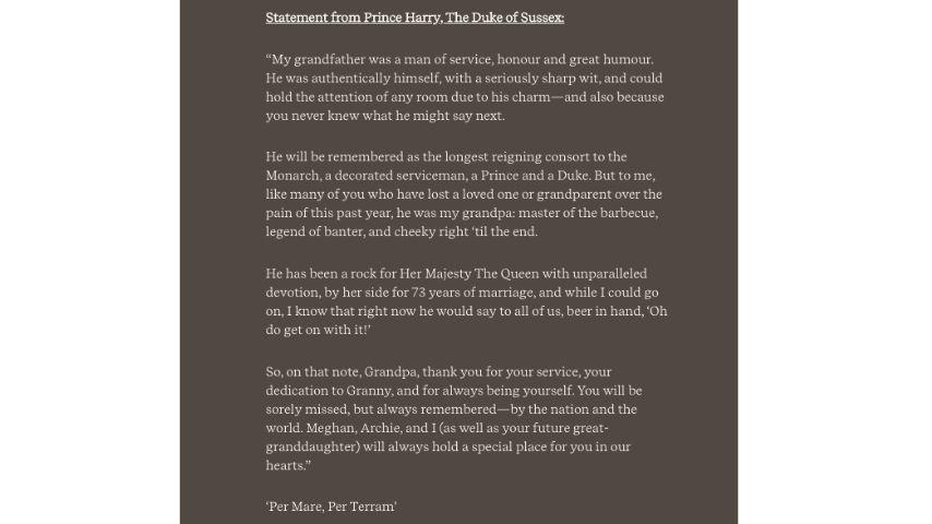 Il comunicato di Harry in ricordo del nonno