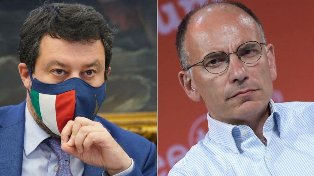 Matteo Salvini contro Enrico Letta per la foto con Open Arms