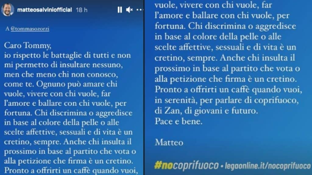Matteo Salvini scrive a Tommaso Zorzi e a Fedez: