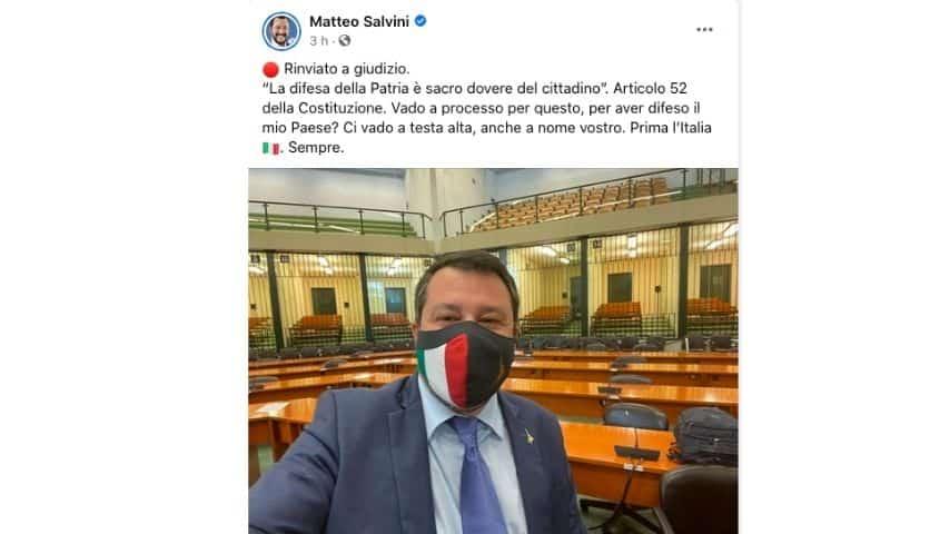 Il post di Matteo Salvini dopo la decisioned del giudice