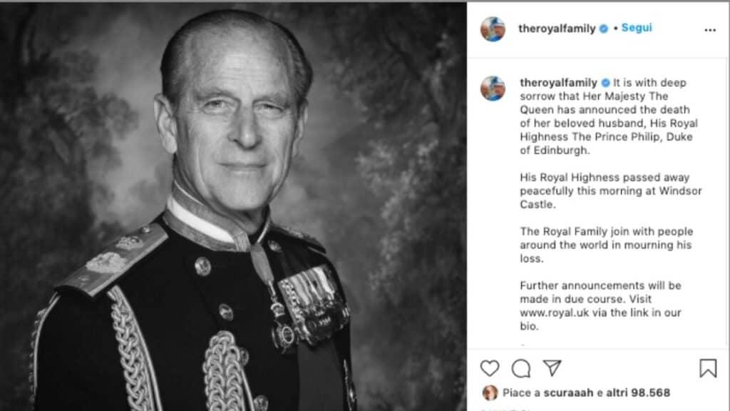 Morto il Principe Filippo: addio al compagno della Regina Elisabetta, scomparso a 99 anni