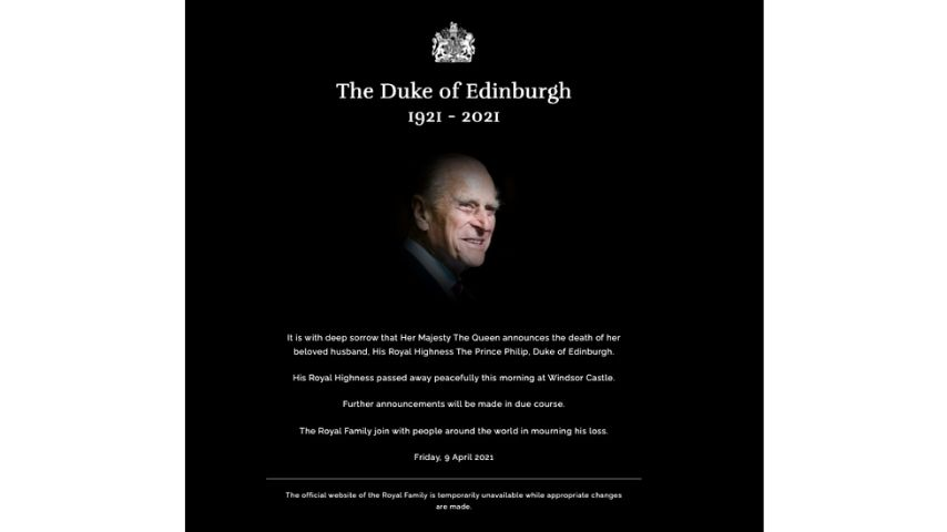 l'annuncio dela morte del principe Filippo
