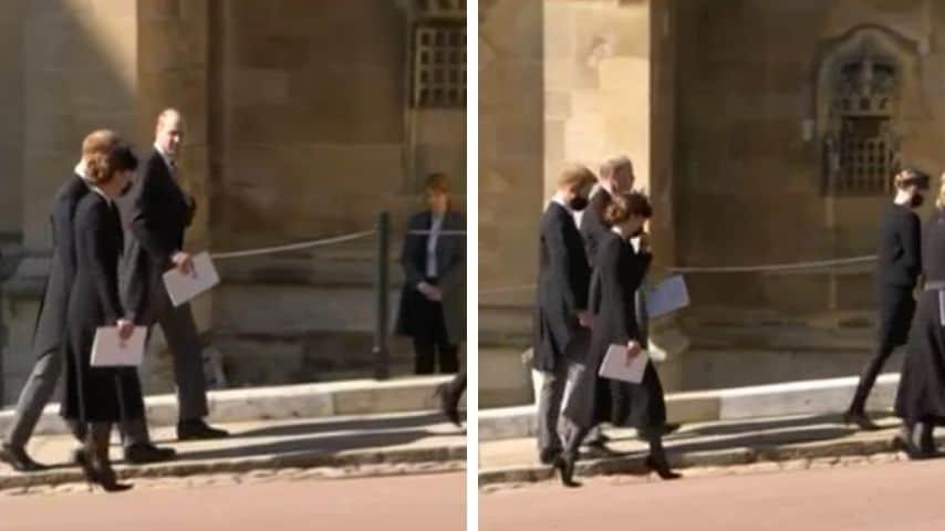 William e Harry conversano dopo il funerale del principe Filippo