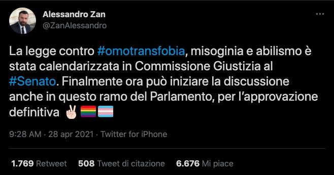 Alessandro Zan su Twitter