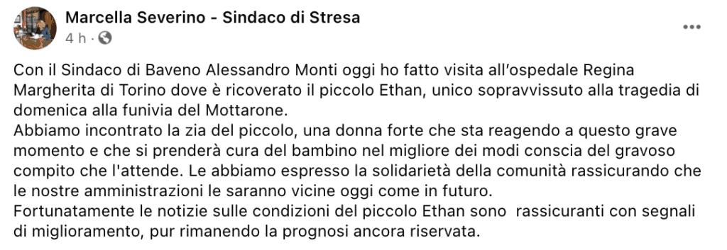 Il post Facebook della sindaca di Stresa