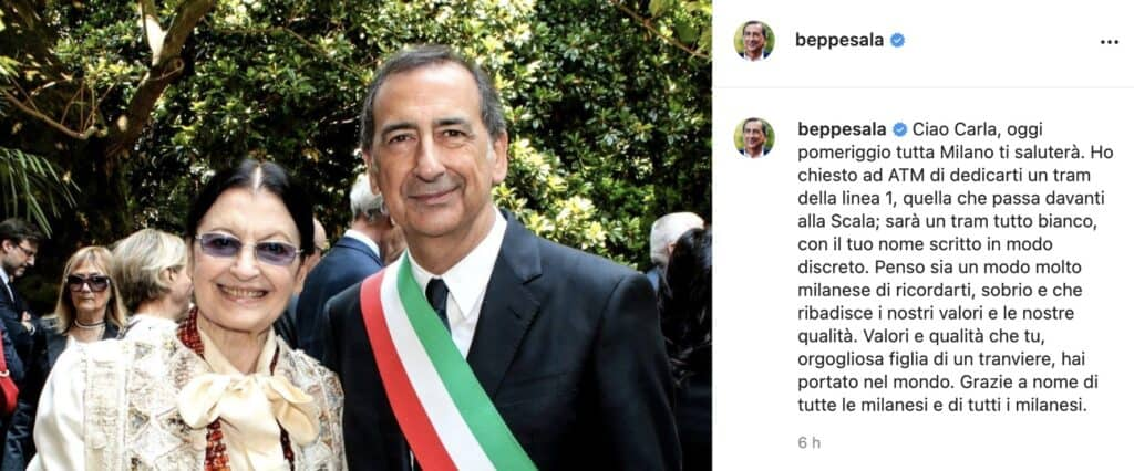 Il post di Beppe Sala per Carla Fracci