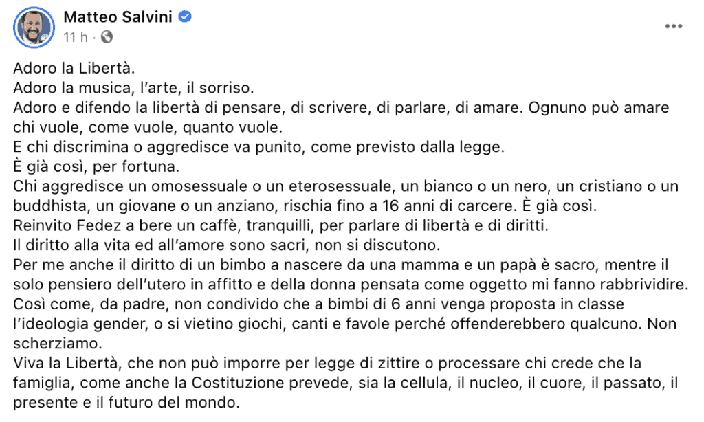 Il post su Facebook di Matteo Salvini