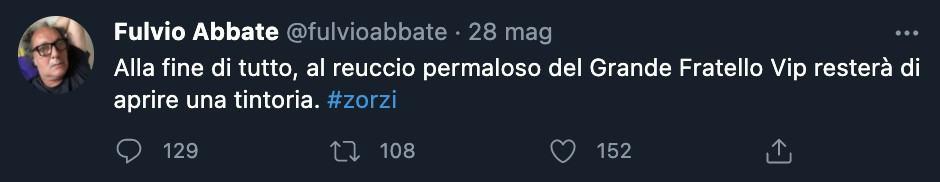 Il tweet di Fulvio Abbate
