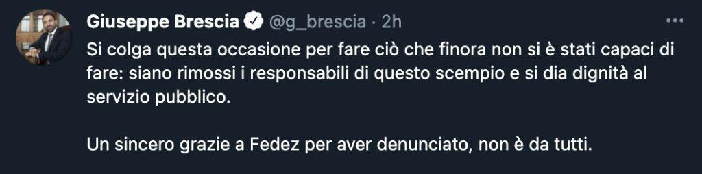 Il tweet di Giuseppe Brescia