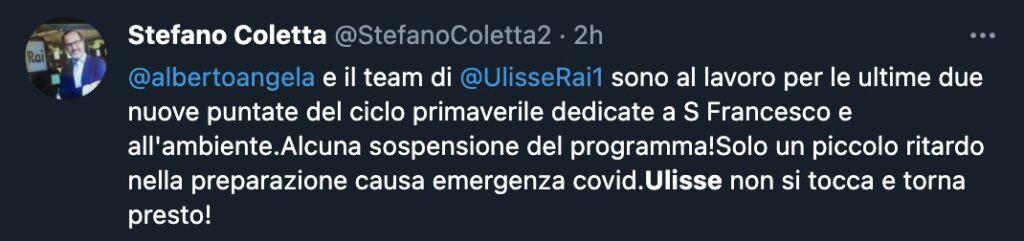 Il tweet di Stefano Coletta