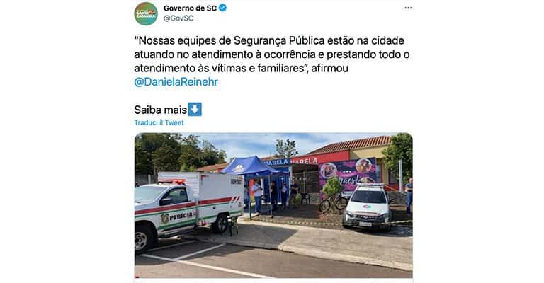 Tweet del Governo di Santa Catarina sull'assalto all'asilo