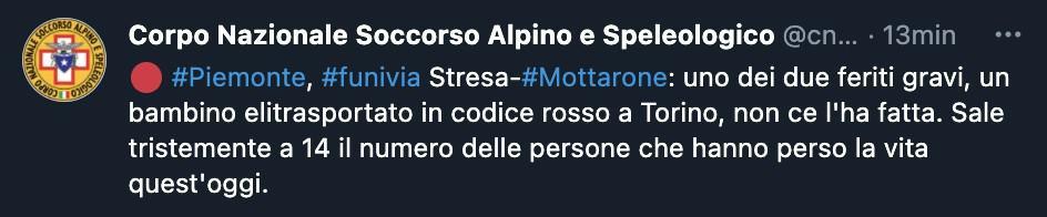 Tweet del Corpo Nazionale Soccorso Alpino