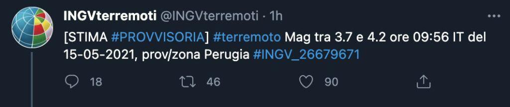Il tweet dell'INGV
