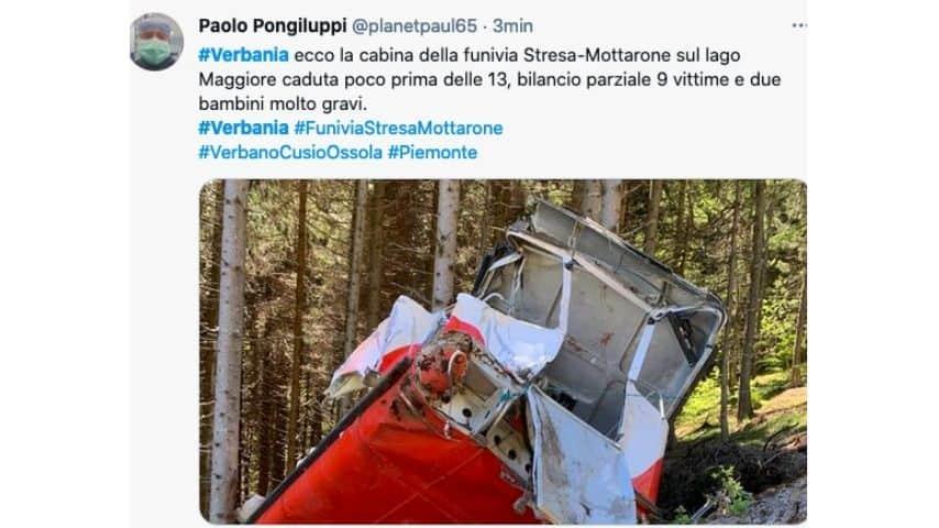 La seconda foto della funivia caduta a Stresa Mottarone