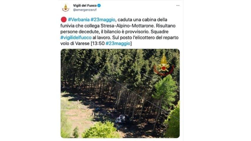 La prima foto della funivia caduta a Stresa-Mottarone