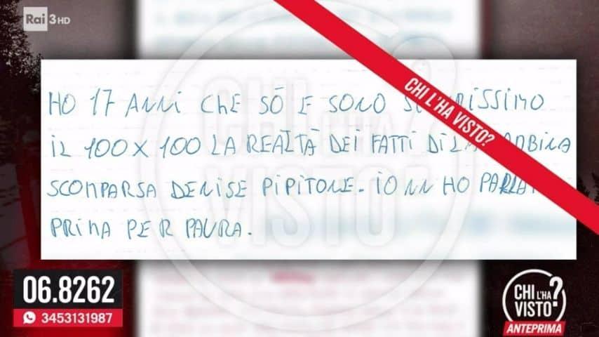 Un pezzo della lettera anonima ricevuta a Chi l'ha visto