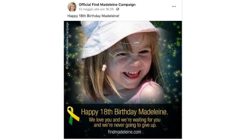 Il post dei genitori di Maddie