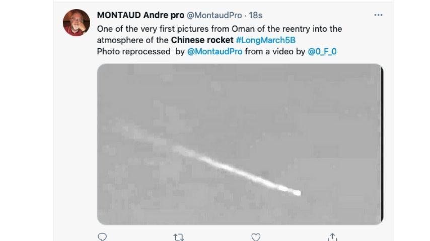 Passaggio del razzo cinese