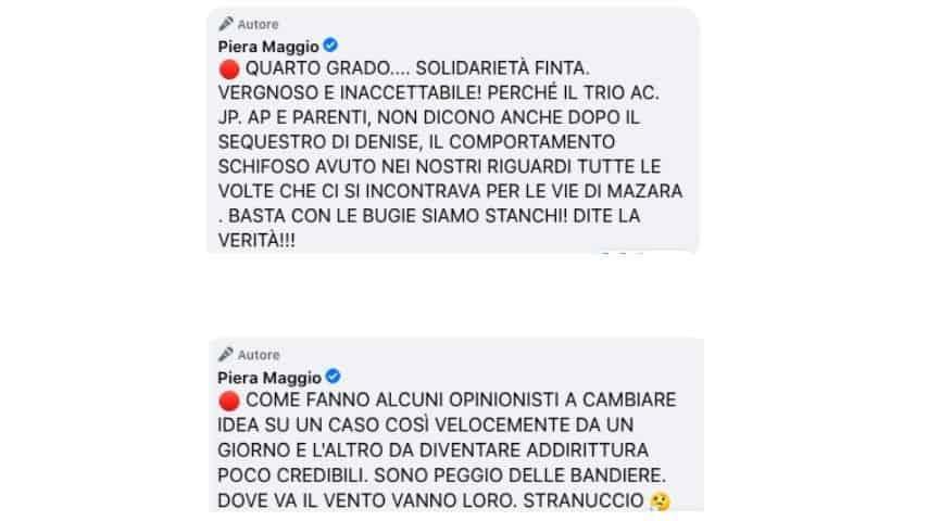 Piera Maggio sbotta sui social