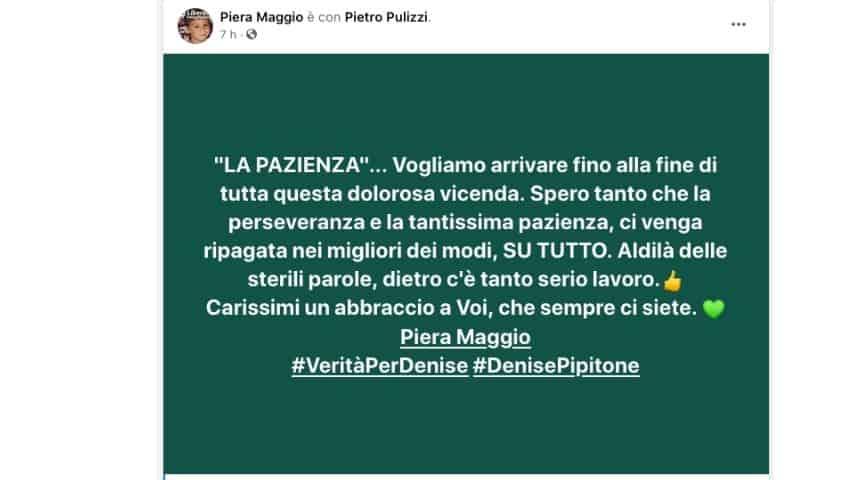 Il secondo post di Piera Maggio su Facebook