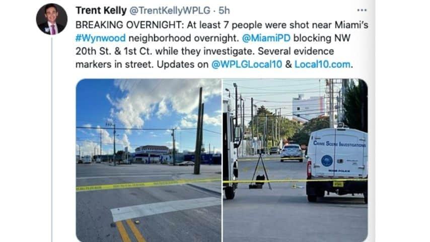 Il post con le immagini della sparatoria a Miami