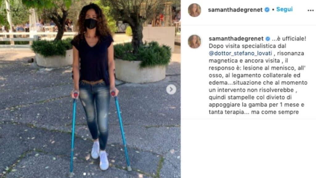 Samantha De Grenet in stampelle su Instagram: brutto infortunio per l'ex gieffina