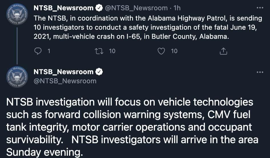 Il tweet dell'NTSB