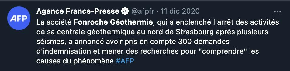 Tweet di AFP sullo stop all'attività della centrale geotermica