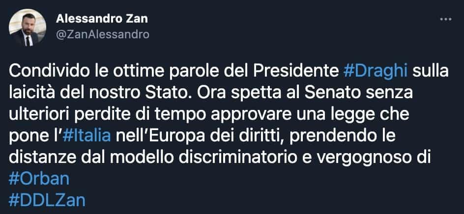 Il tweet di Alessandro Zan