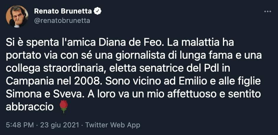 Il tweet di Renato Brunetta
