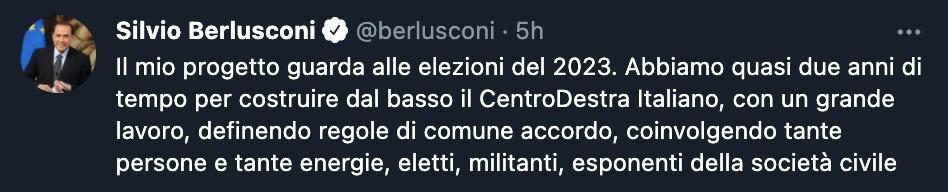Il tweet di Silvio Berlusconi