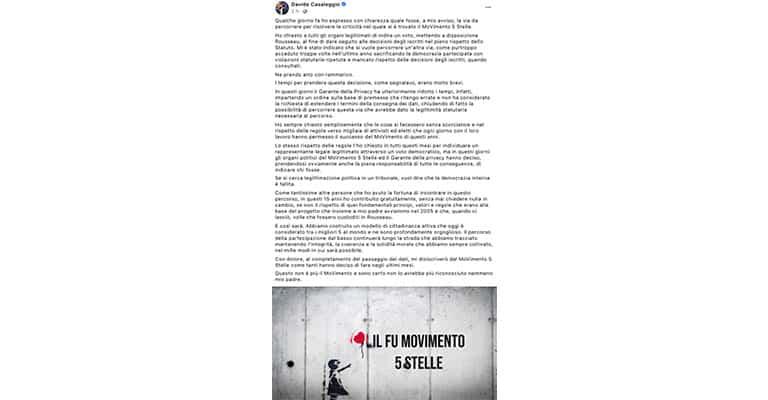 Post di Davide Casaleggio su Facebook