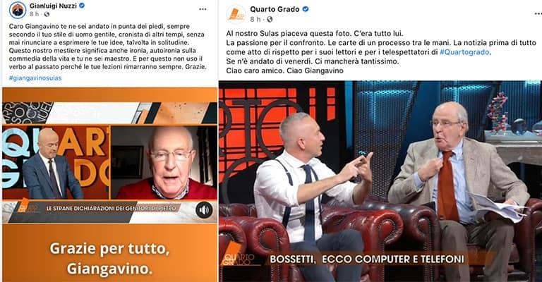 Post di Gianluigi Nuzzi e Quarto Grado su Facebook