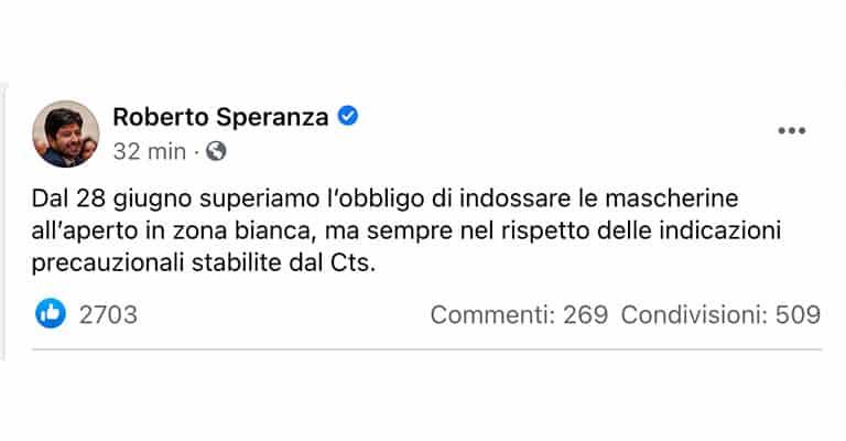 Post di Roberto Speranza su Facebook