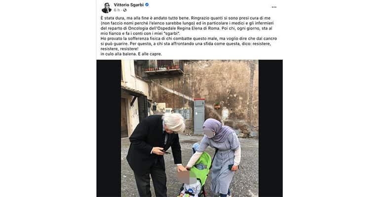 Post di Vittorio Sgarbi su Facebook