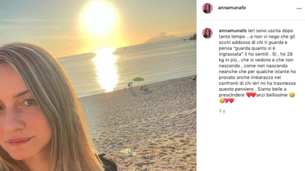 """Anna Munafò, l'ex tronista di Uomini e Donne si sfoga su Instagram: """"Si, ho 28 kg in più che si vedono e che non nascondo"""""""