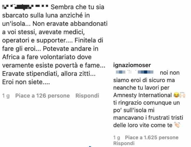 Il botta e risposta tra Ignazio Moser e la follower su Instagram