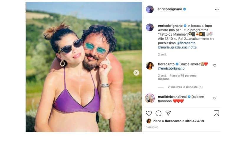 Enrico Brignano e il post di in bocca al lupo per Flora Canto