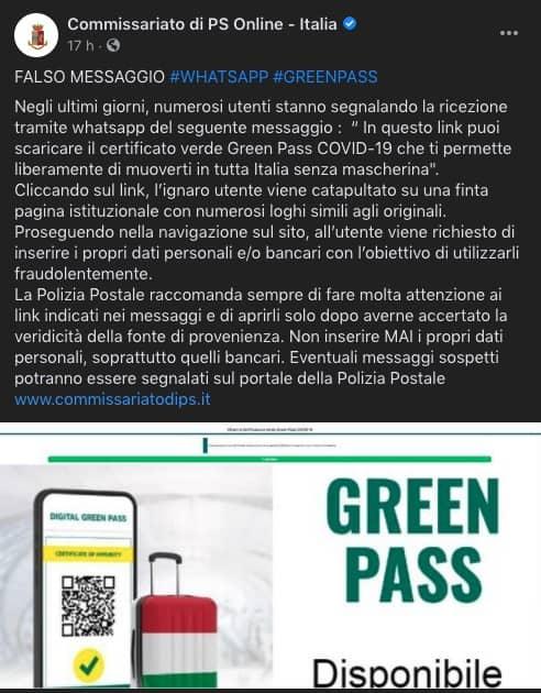 green pass falso segnalazione polizia postale