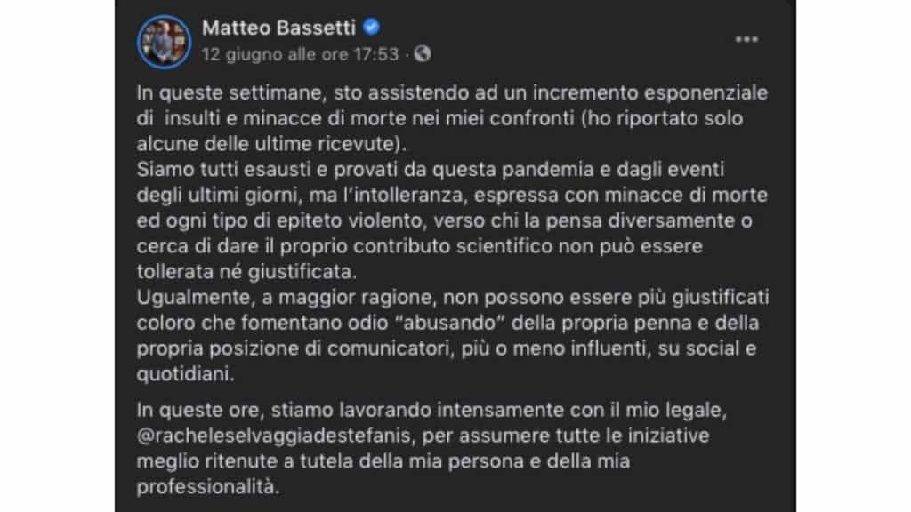 matteo bassetti minacce facebook