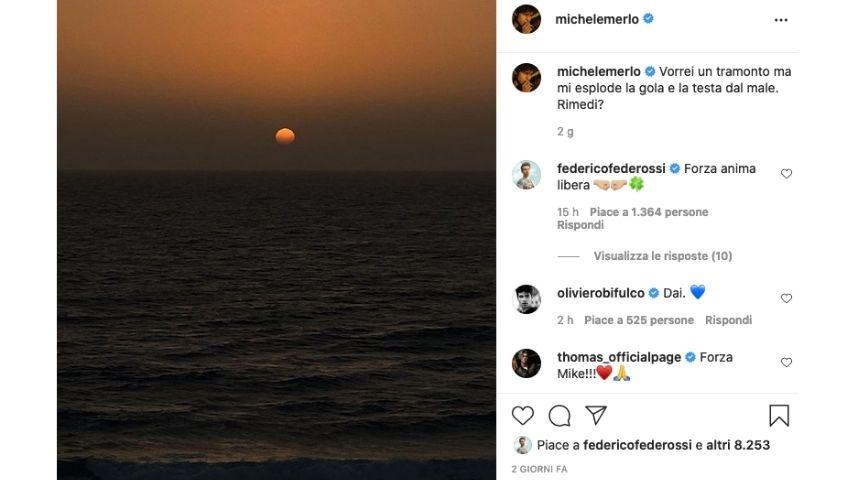 La foto del tramonto postata da Michele Merlo