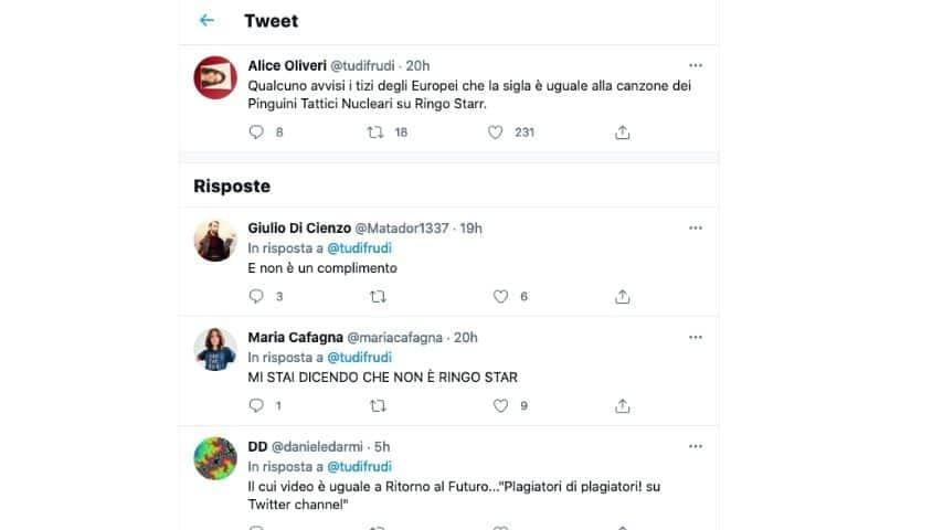 I tweet con le accuse di plagio