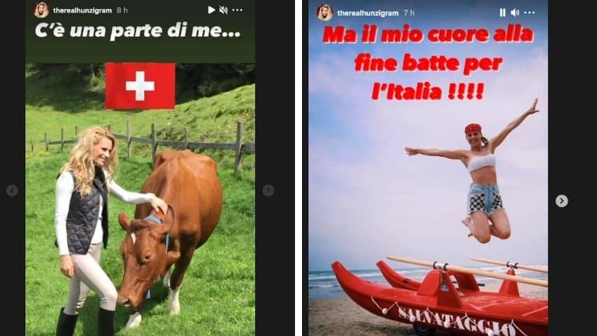 Il post di Michelle Hunziker sulla partita Italia -Svizzera