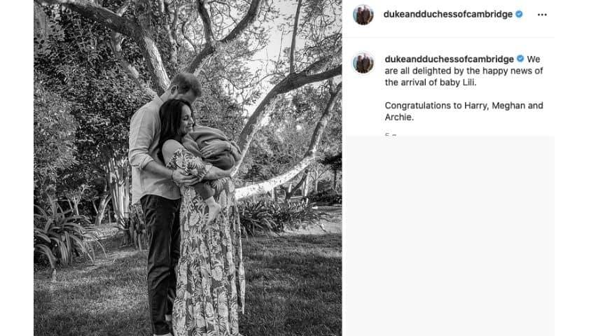 Il post di William e Kate in occasione della nascita della piccola Lilibet Diana