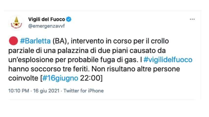 Il tweet dei vigili del fuoco sul crollo della palazzina a Barletta