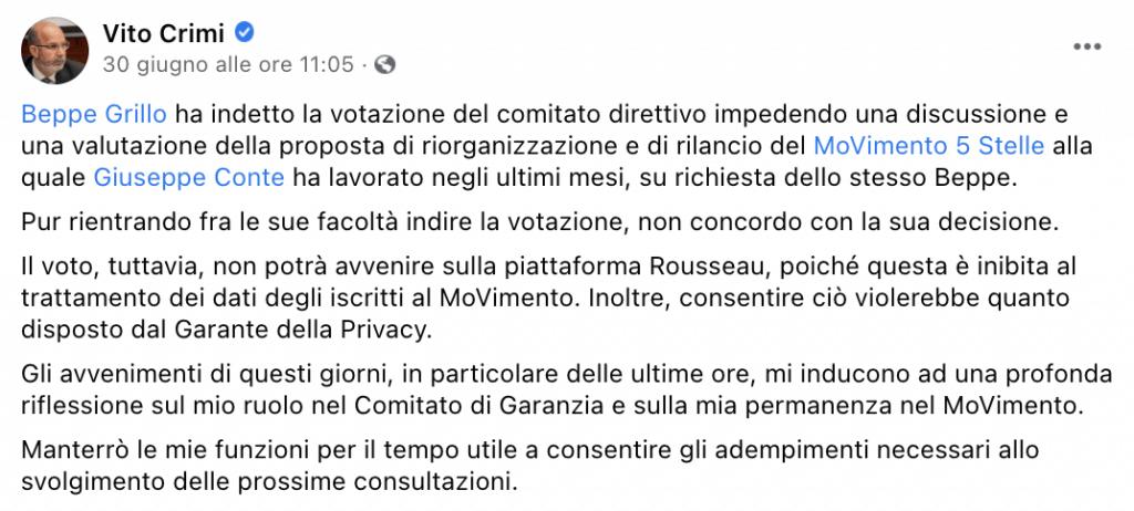 Il post di Vito Crimi